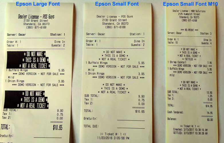 Epson M10 Receipt Format Blog Post – Standard Receipt Format