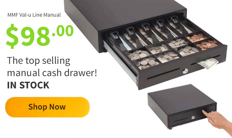 The top selling manual cash drawer! IN STOCK $98.00